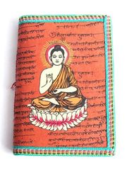Cotton-Covered Journal With Buddha - Terracotta