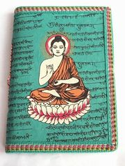 Cotton-Covered Journal With Buddha - Turquoise