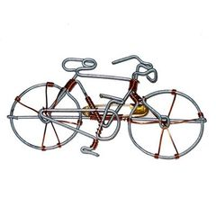 Bicycle Design Pin, Hand-Crafted From Recycled Telephone Wire