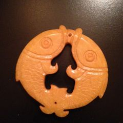 Carved Stone Pendant of Double Fish