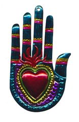 Mexican Tin Ornament - Heart in Hand, Rainbow Colors