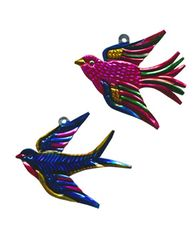 Mexican Tin Ornament of Colorful Swallow
