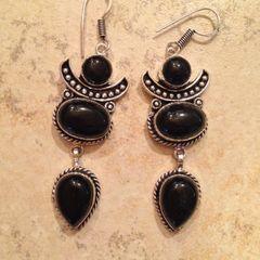 Onyx Three Drop Earrings