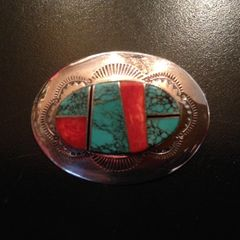 Sterling Silver Navajo Pin with Turquoise and Coral Inlay - Marie Tsosie