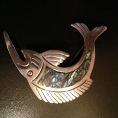 Vintage Pin of Swordfish - Sterling Silver with Abalone Inlay