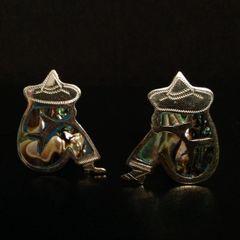 Sterling Silver (Vintage) Earrings of a Sombrero-Wearing Man Taking a Siesta. SCREW BACK!