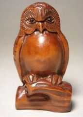 Netsuke: Wise Owl in Tree