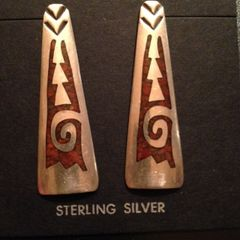 Sterling Earrings with Spiny Oyster Inlay - Pierced/Post