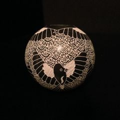 Black and White Graffito/Etched Mata Ortiz Pot With Birds