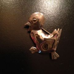 Vintage Sterling Silver and Abalone Brooch of a Laughing, Happy Duck!