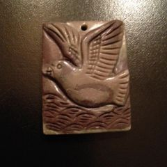 Carved Stone Pendant/Focal of a Seagull Over Waves