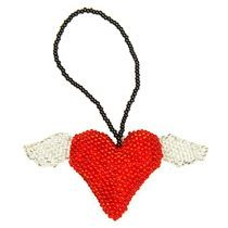 Beaded Ornament - Heart With Wings