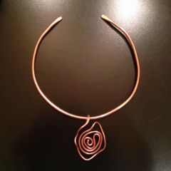 Hand Hammered Copper Neck Ring and Pendant in Spiral Design