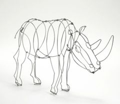 Handcrafted Wire Sculpture of an African Rhino
