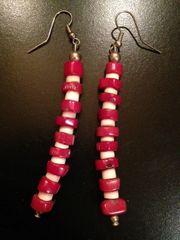 Navajo Earrings of Coral, Antler and Sterling