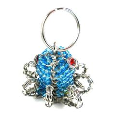 Hand-Beaded Octopus Key Ring/Zipper Pull