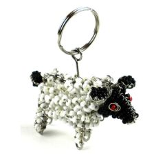 Hand-Beaded Sheep Key Ring/Zipper Pull