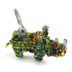 Hand Beaded Rhino Key Ring/Zipper Pull