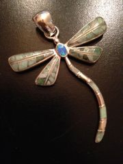 Variscite and Opal Inlaid Sterling Silver Dragonfly Pendant