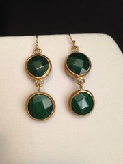 Turkish Emerald Two-Stone Drop Earrings