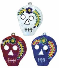 Painted Tin Skull Ornament