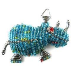 Hand Beaded Rhino Pin/Brooch