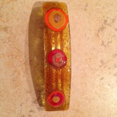 Fused Glass Barrette in Citrus Colors - Circles