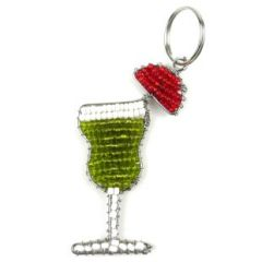 Hand Beaded Key Ring - Zipper Pull of a Tropical Cocktail...Including Umbrella!