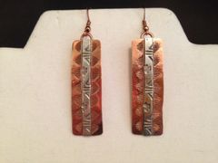 Copper and Sterling Silver Earrings, Isleta Pueblo - 2.5""