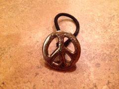 """Peace, Man"" Hair Tie with Concho for Braids, Ponytails, Pigtails"