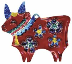 Tin Ornament of a Bull...with Flowers and Bell!