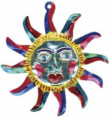 Tin Ornament of a Sun in Fiesta Colors!