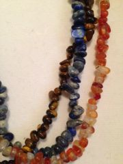 Three-Strand Southwest Necklace of Lapis, Carnelian, Sodalite and Tiger Eye with Heishi