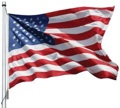 USA 5ft x 9-1/2ft Sewn Nylon Flags
