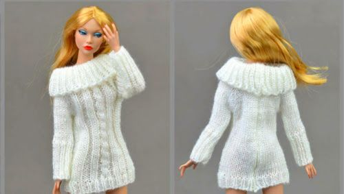 Handmade Knitted White Barbie Sweater Dress With Cable Stitch