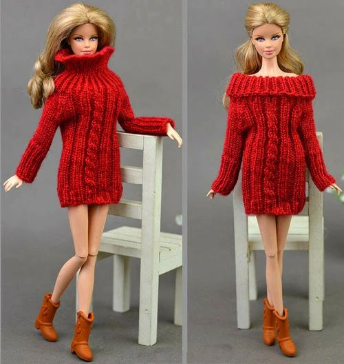 Handmade Knitted Red Barbie Sweater Dress With Cable Stitch