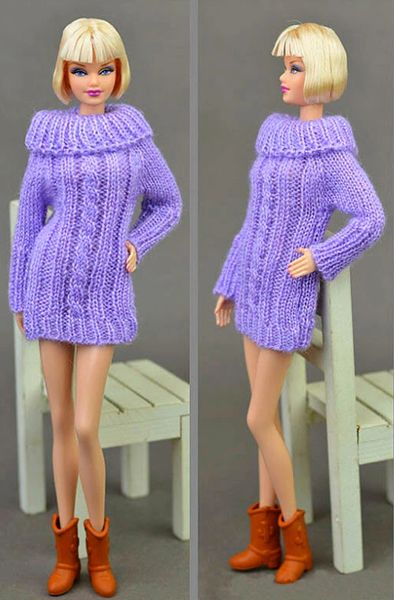 Handmade Knitted Purple Barbie Sweater Dress With Cable Stitch