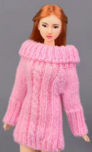 Handmade Knitted Pink Barbie Sweater Dress With Cable Stitch