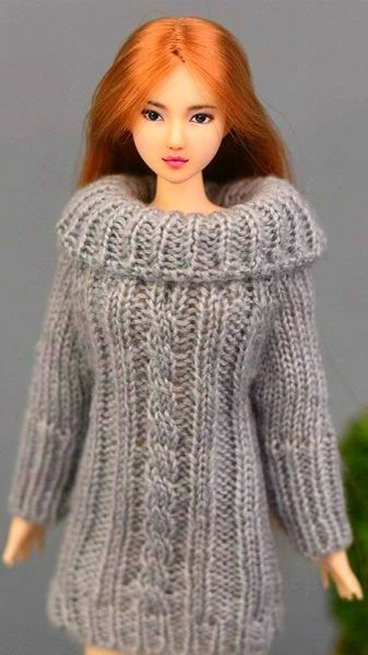 Handmade Knitted Grey Barbie Sweater Dress With Cable Stitch