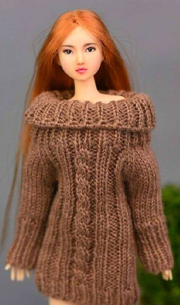 Handmade Knitted Brown Barbie Sweater Dress With Cable Stitch