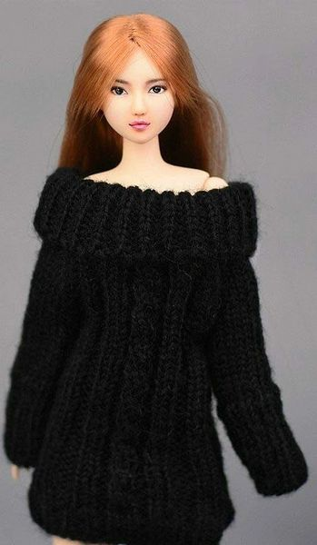 Handmade Knitted Black Barbie Sweater Dress With Cable Stitch