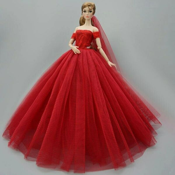 New Handmade Red Barbie Wedding Gown With Long Veil