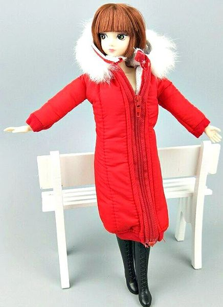 Handmade Red Barbie Winter Coat With Hood Barbie Winter Jacket