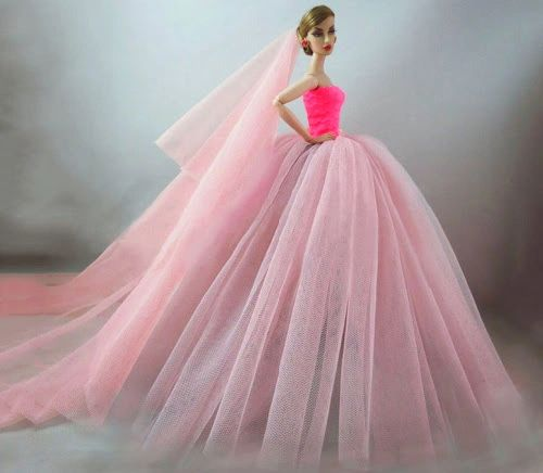 New Handmade For Barbie Wedding Dress For Barbie Wedding Gown Long Veil