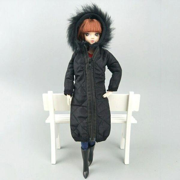 Handmade Black Barbie Winter Coat With Hood Barbie Winter Jacket
