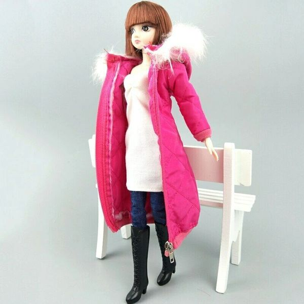 Handmade Fusia Barbie Winter Coat With Hood Barbie Winter Jacket