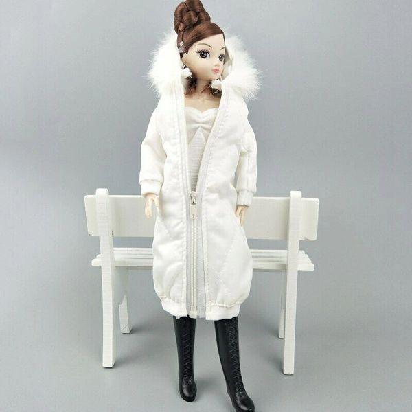 Handmade White Barbie Winter Coat With Hood Barbie Winter Jacket