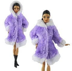Barbie Fur Coat-Hood-Modest Barbie Clothes