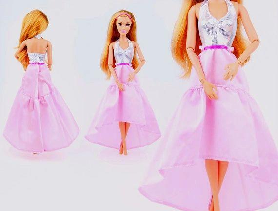Pink Satin Barbie Dress-Modest Barbie Clothes-Shoes