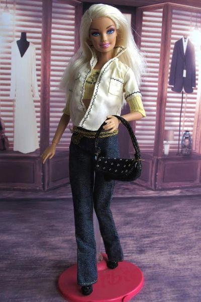 Barbie Casual Wear 2 Shirts Jeans Belt Purse Shoes